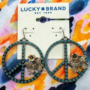 LUCKY BRAND Turquoise Peace Butterfly Earrings
